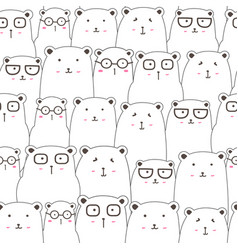 seamless pattern with cute bear background vector image