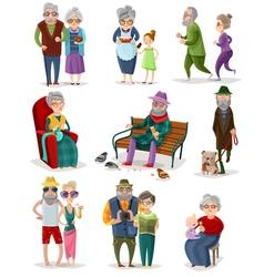 Senior people cartoon set vector