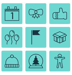 Set 9 christmas icons includes agenda mitten vector