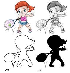 set female tennis player vector image