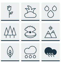 Set of 9 landscape icons includes raindrop vector