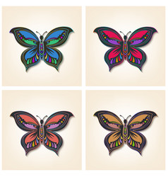 Set of butterflies elegant insects vector
