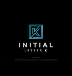 simple minimalist square initial letter k logo vector image