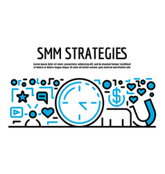 Smm strategies banner outline style vector