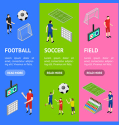 soccer competition banner vecrtical set isometric vector image