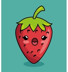 Strawberry kawaii fruit breakfast icon vector