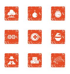Surveillance park icons set grunge style vector