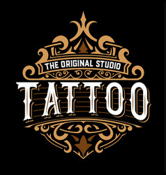 Tattoo logo with floral details vector