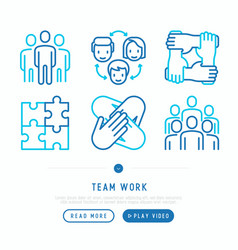 teamwork thin line icons set vector image