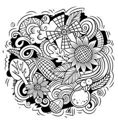 thanksgiving hand drawn cartoon doodles vector image