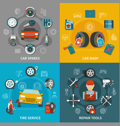 tire service 2x2 set vector image