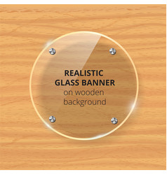 transparent glass plate mock up yellow wooden vector image