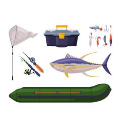 Tuna fishing equipment set fishing rod vector