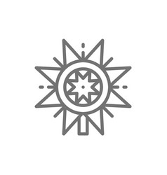 Ukrainian christmas vertep star line icon vector