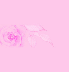watercolor valentine design with pink rose vector image