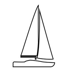 yacht icon black color flat style simple image vector image