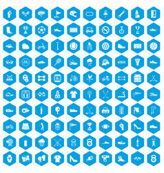 100 sneakers icons set blue vector image