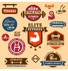 fitness labels vector image vector image