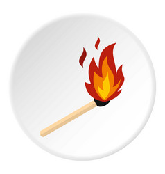 match with fire icon circle vector image
