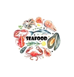 Set of seafood watercolor vector image