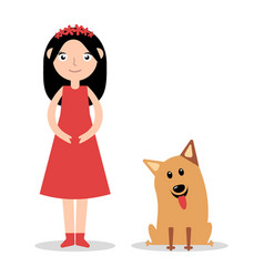 a little girl with her pet dog vector image