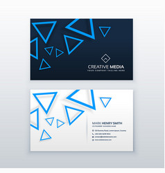 Blue triangle business card design template vector