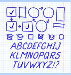 Marker hand written doodle letters and symbols vector