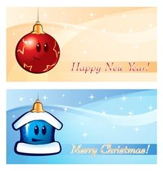 New Year Xmas Greeting card vector image