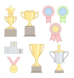Set of award success and victory colorful line vector image vector image
