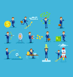 set of businessmen achieving success money concept vector image vector image