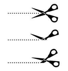 set of scissors with black points vector image