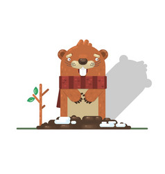 happy groundhog day with groundhog vector image