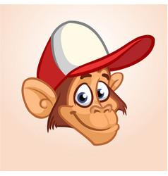 happy monkey head cartoon vector image vector image