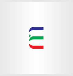 letter e red green blue icon vector image vector image