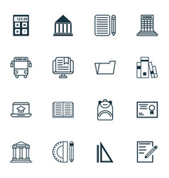 Set of 16 education icons includes paper e-study vector
