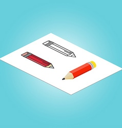 Set of Isometric pencil flat pencil and thin line vector image