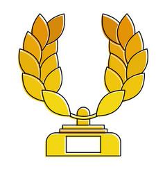 trophy wreath leafs crown award vector image