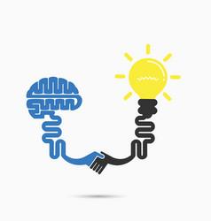 brain amp light bulb vector image