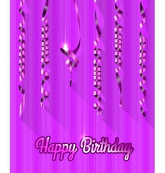 Happy Birthday Background with Gold Streamers vector image