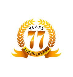 77 years ribbon anniversary vector image