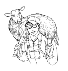 A young strong farmer boy with sheep on his vector