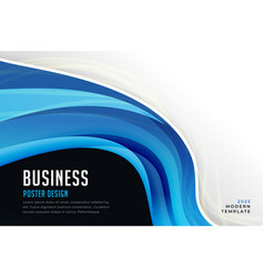abstract blue business wave poster design vector image
