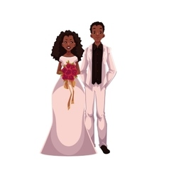 African American just married couple black bride vector