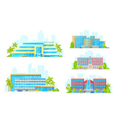 apart hotel resort building icons vector image