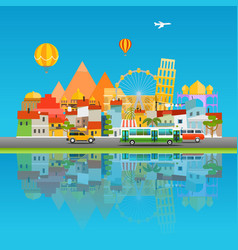 Around the world concept Asia cityscape travel vector