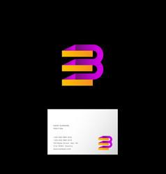 b e letter monogram web origami ribbon vector image