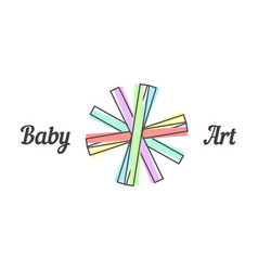 baby art sign with line paper strips vector image