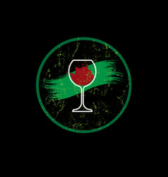 biological wine concept organic red wine glass vector image