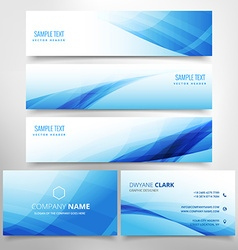 Blue wave stationary set including business card vector