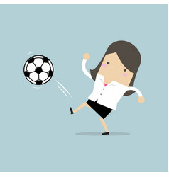 businesswoman kicking the ball football player vector image